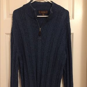 NWOT Rich Blue/Gray Tasso Elba Zip Neck Sweater M